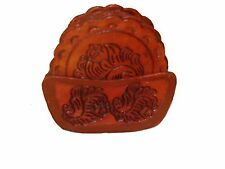 8 PC Top Grain Saddle Leather Coaster Set & Tray Hand Tooled Western Bar *456*