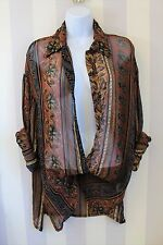 Urban outfitters Aztec Vtg Sheer Festival Floral Baggy Kimono Shirt 10 12 14