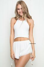 Last one! brandy melville cream cotton laced trimmed pull-on Sheila Shorts NWT