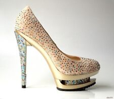 $3295 GIANMARCO LORENZI Disco Ball nude suede ALL JEWELED platforms shoes 38 8