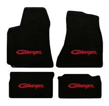 NEW! BLACK FLOOR MATS 1966-1967 Dodge Charger Script Embroidered Logo in Red All