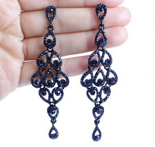 DROPS AUSTRIAN CRYSTAL RHINESTONE BLUE CHANDELIER DANGLE EARRINGS BRIDAL E2088B