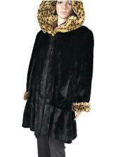 Womens Vtg Designer Faux Fur Velvet Style Animal Black Victorian Hooded Coat S91