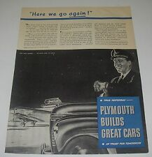 Print Ad 1945 Automobile Plymouth Art by Coby Whitmore Pilot Here we go again