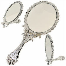 Small Decorative Vintage Antique Style Silver Hand Held Standing Vanity Mirror