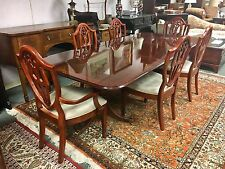 "Bernhardt Large Cherry Wood Dining Room Set Six Chairs Table Two Leaves 118""!"