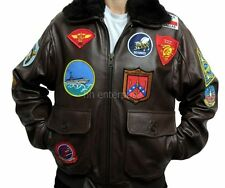 Top Gun Tom Cruise Men Fighter Jet Pilot Black Fur cowhide Leather Jacket