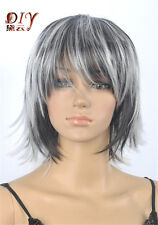 Superb Women Black White Mix Straight Party Cosplay Short Hair Full Wig + Cap