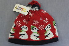 ATTAKID TODDLER RED w POLAR BEARS & SNOWFLAKES LINED WINTER BEANIE HAT NWT 2T-4T