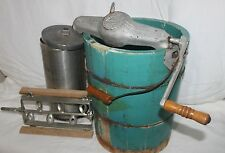 Vintage White Mountain Hand Crank Ice Cream Maker Freezer works green teal