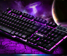 RAJFOO Cyborg Soldier Backlit Multimedia Usb Gaming Keyboard Blue/Purple/Red LED