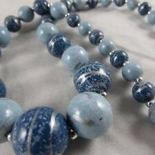 Silvertone & Marbled Blue Graduated Beads Necklace (40751402)