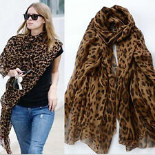 POP FASHION CELEBRITY LONG SOFT ANIMAL LEOPARD PRINT CHIFFON SHAWL SCARF WRAPS