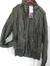 M&S faux leather  taupe Biker jacket    BNWT  size 8/10  **1 DAY ONLY**
