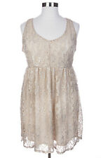 CUTE TORRID PLUS SIZE CREAM LUREX SLEEVELESS LACE LINED TANK DRESS Sz 22