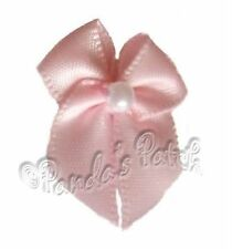 Mini Satin Ribbon Bows with Single Pearl Bead Choose Colour, Pack Size Free Post