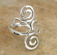UNIQUE STERLING SILVER LONG FREE FORM SWIRL RING sz 10  style# r0907