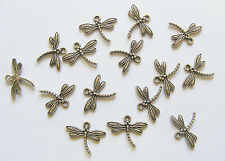 15 Metal Antique Bronze Colour Dragonfly Charms - 17mm
