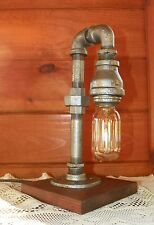 Handcrafted Industrial Pipe Lamp steampunk style in chestnut with edison bulb