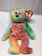 Very Rare Retired TY Beanie Baby - Peace Bear - Lots of Tag Errors - Has Big Eye