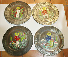 Lot of 4 Decorative Silver Mexican Plates Hangings Chargers -Sombreros/Cactus