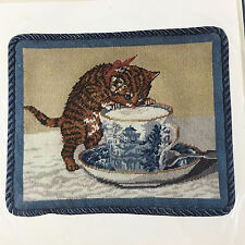 It's Polite to Point needlepoint cat Kitten and Teacup New 10x12 pillow/frame