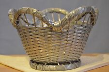 Vintage woven metal  basket round scalloped silve plate ? Vannerie de Metal ?