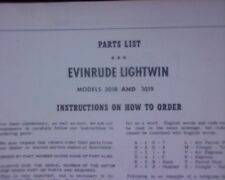 VINTAGE 1957 Evinrude Lightwin 3018, 3019 Outboard motor SPARE PARTS MANUAL book