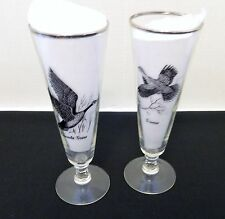 Champagne Flute Wine Glasses w/ Canada Goose & Grouse Silver Trim Two Man Cave