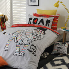 LEO LION ORANGE ANIMAL REVERSIBLE SINGLE bed QUILT DOONA COVER SET NEW