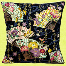 """NEW JAPANESE ASIAN ORIENTAL  Fans Writing Flowers Black 16"""" Pillow Cushion Cover"""