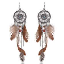 Boucles d'Oreilles Pendantes Earrings Argenté Bohème Plumes Marron Fashion Mode