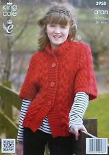 KNITTING PATTERN Childrens/Ladies Short Sleeve Cable Jacket Aran King Cole 3958