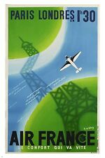 PARIS to LONDON french airline VINTAGE TRAVEL POSTER eiffel tower 24X36 HOT