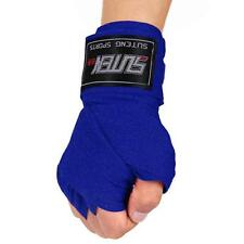 PU Boxing Kickboxing Training Sandbag Gloves + 2.5M Cotton Boxing Bandage Blue