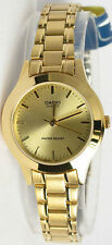 Casio Ladies Gold Stainless Steel Gold Dial Dress Watch LTP-1128N-9A New