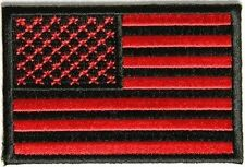 Red Black American Flag Embroidered Military USA VET MC New Biker PATCH PAT-2612
