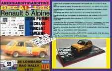 ANEXO DECAL 1/43 RENAULT 5 ALPINE JEAN-PIERRE-NICOLAS RAC RALLY 1977 (01)