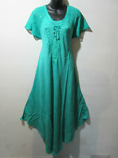 Dress Fits 1X 2X 3X 4X Plus Sundress Green Lace Sleeves A Shaped Chest Ties G602