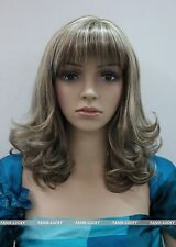 Excellent Light Brown Blonde Mixed Medium Curly Anti-Alice Women wig FTLC114