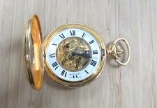 Baylor Vintage Gold Tone Pocket Watch with Open Face Case ~ 7-F3178