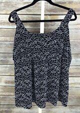 Fashion Bug Women's Plus 26/28W Black, White Floral Lace Sleeveless Blouse Top