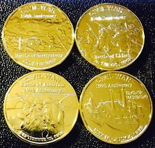 LOT OF 4 24K GOLD PLATED 1 OZ COPPER ROUND CIVIL WAR BATTLES
