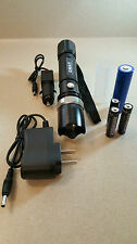 Tactical Police Rechargeable LED Zooming Flashlights 6 Sent 18650 and AAAs Incl.