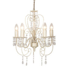 Shabby Chic Off White / Cream 5 Way Ceiling Light Jewel Chandelier Fitting NEW