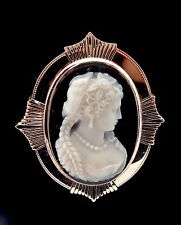 ANTIQUE EDWARDIAN 14K GOLD CARVED SARDONYX HARDSTONE PORTRAIT CAMEO PIN PENDANT