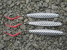 3 pack  fishing AVA 16oz Hammered Diamond cod jigs lures red tube hook