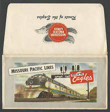 Ca 1940 RR MISSOURI PACIFIC LINES TICKET FOLDER MINT THE ROUTE OF THE EAGLES