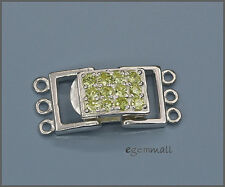 Sterling Silver 3-strand Rectangle Push Clasp with Lime CZ #51136