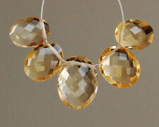 Eye Clean Natural Citrine Faceted Oval Briolette Beads 5pcs